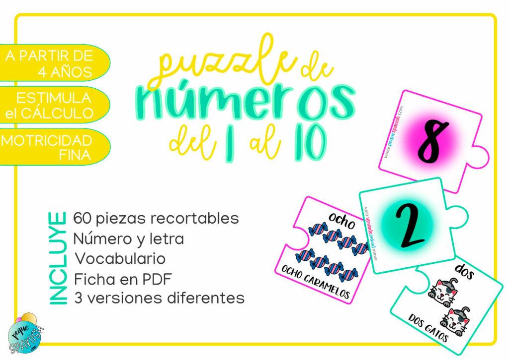 Puzzle de números del 1 al 10. Pequespanish